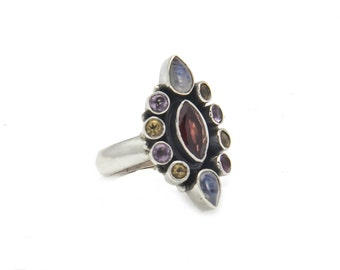 Multi color Retro ring - silver ring- Free Shipping