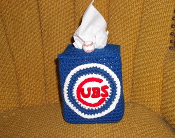 Chicago Cubs Baseball Tissue Box Cover Crochet Sports Fan Gift Baseball Decor Den Decor