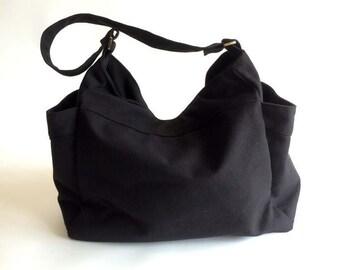 Mothers day Sale 25 % - Black canvas Diaper bag , Mom cross body bag ,Women Vegan hobo messenger bag , Handbag Gift for her /  no.101 RENEE