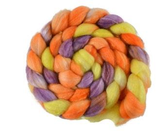 Merino SW Merino Silk 4 oz hand dyed roving, Combed Top, superwash merino spinning fiber, orange, yellow, purple - In the Moment