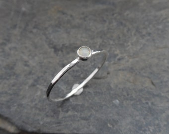 Opal Skinny sterling silver ring, hammered, 1.2 mm ring, made at your size. Skinny ring, thin ring, stacking ring. October birthstone
