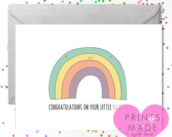 Rainbow baby card  / new baby / baby boy / baby girl / A5