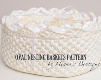 Crochet Basket Pattern - Oval Nesting Baskets - PDF