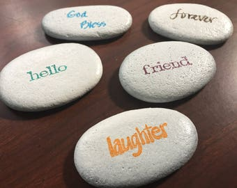 Stone or rock art. Sentiment stones.  Any 2 for 5.00.   Hand stamped with words and simple pictures - set of 2.