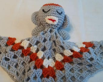 Crocheted Gray Monkey Security Blanket Lovey Handmade About 14 x 15 Inches Infant Snuggle Toy Orange White Accents