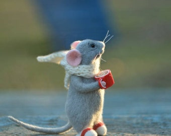 Gray mouse, Little mouse, Grey mice, Felted mouse, Wool mice, Miniature mouse, Art doll, Cute little mouse, Beautiful mouse Mouse and coffee