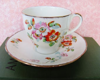 Tea Cup And Saucer Set Alfred Meakin English Staffordshire China 1937 Royal Marigold Pattern