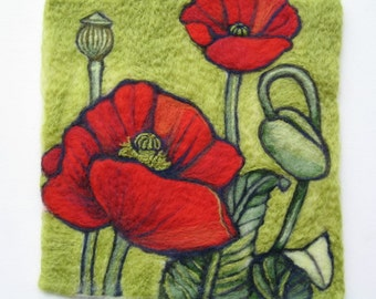 Needle Felted Wool Painting - Red Poppy Flowers - Flowers In Bloom Series Made To Order Only