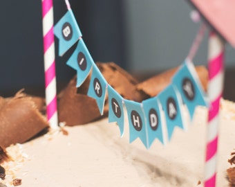 Pink and Black Abstract Birthday cupcake toppers and mini cake bunting for Birthday. *INSTANT DOWNLOAD*