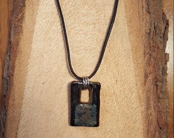 Black and denim ceramic pendant necklace with leather rope cord