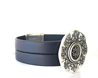 Wide Cuff Bracelet -  Womens Bracelet -  Flower Jewelry - Flower Silver Bracelet - Leather Bracelet - Floral Bracelet - Statement Bracelet