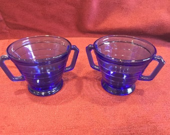 Vintage Hazel Atlas cobalt Moderntone Double handled sugar bowl server 2 avail depression glass Cobalt blue Art Deco collectible decor