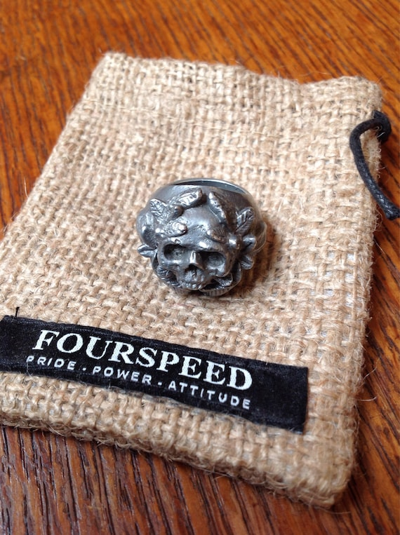 Pewter skull face Fourspeed ring UK size N men's women's chunky heavyweight biker motorcycle rugged