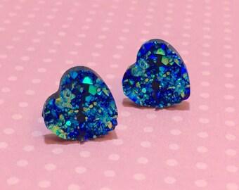 Druzy Heart Studs, Sparkly Earrings, Blue Heart Studs, Valentine's Earrings, Stainless Steel, Faux Drusy Gemstone Studs (SE5)