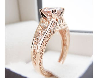 Vintage Engagement Ring 14K Rose Gold Morganite Engagement Ring Vintage Rose Gold Ring