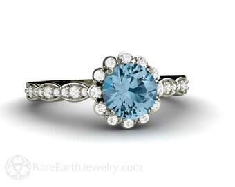 Aquamarine Engagement Ring Aquamarine Ring Diamond Halo Aqua Ring 14K Gold or Palladium March Birthstone