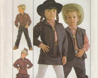 Western Clothes Pattern Pants Skirt Vest Shirt Top Girls Boys Size 3 Uncut Simplicity 8259