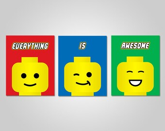 Lego Bedroom Wall Art - Lego Printable Wall Decor - Lego Wall Art - Everything is Awesome - Printable Wall Art - Instant Download
