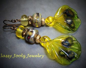 Glass Lampwork Beaded Earrings-Brass Butterfly Wing Lampwork Earrings-Dragon Wing Earrings-Artisan Lampwork Earrings-SRAJD-Artisan Beads