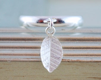 Silver Stacking Ring, Silver Plated Brass, Tiny Sterling Silver Leaf, Adjustable Size, Minimalist Jewelry