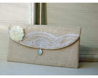 bridal ivory lace clutch purse wedding rustic wedding clutch bridal clutch Personalize purse Bridesmaid gift cosmetic bag
