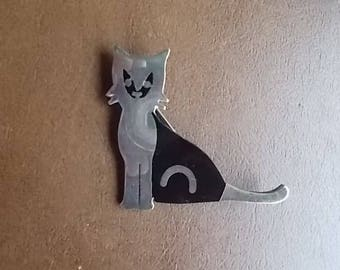 Big~Vintage~Sterling Silver~Enamel~Cat Pin~Brooch~Signed~Cat Fancy~Nice~70's~925~Fine Jewelry~MEXICO