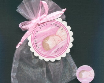 Personalized Baby Girl Baby Shower Favor Candy Bags, Baby Girl Sleeping, Includes Tags, Candy Stickers, Pink Organza Bags, Set Of 20