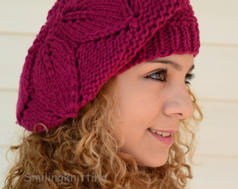 Hand Knitted Hat, Slouchy Hat, Beret,Strawberry Hat, Ribbed, Chunky, Cute Hat, Beanie, Painter Hat