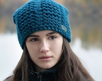 SLOUCHY BEANIE Hat • Hand Knitted Hat Slouchy Hat Knit Beanie Women's Knit Hat • Teal Slouchy Knit Hat Slouch Hat Knitted Beanie • All Sizes