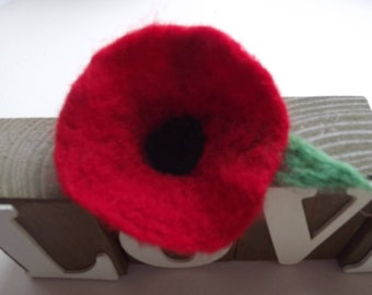 Needle Felted Poppy Brooch with Green Leaf