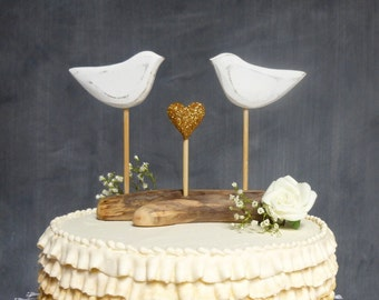 Bird Cake Topper, Gold Bridal Topper, Gold Wedding Cake Topper, Love Bird Wedding Topper with a Gold Heart