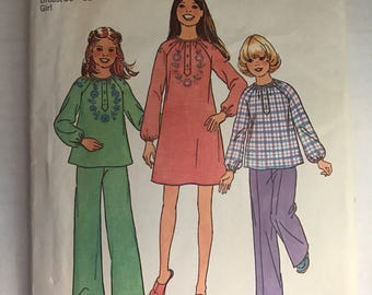 Vintage Simplicity 7317 Girls Dress or Pants and Blouse Pattern Size 12&14 Breast 30-32