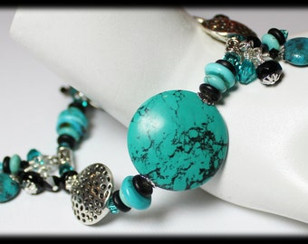 Santa Fe... Handmade Jewelry Bracelet Beaded Cha Cha Turquoise Gemstone Crystal Glass Silver Black Dangle Asymmetrical Earthy