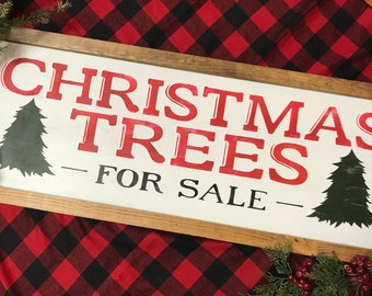 Christmas Trees for Sale   Hand Painted Wood Sign