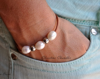 Pearl and Leather Bracelet - Three Pearl and Silver Bracelet - Leather Bracelet with Freshwater Pearls and Silver - Leather Jewelry