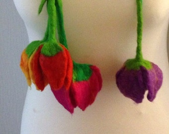 Felted, Merino Wool, Necklace,Tulips