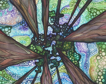Beneath Magic 11x14 print of ancient sequoia redwoods trees painting, forest sky cosmos galaxy psychedelic northern lights aurora borealis