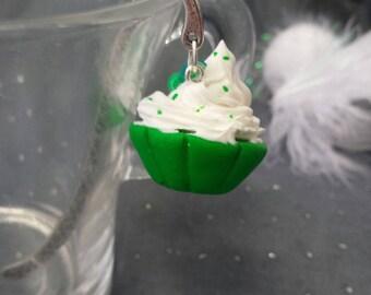 Whipped cream and green cupcake bookmark