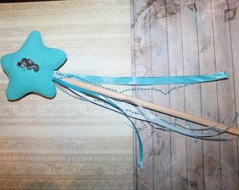 New - turquoise blue fleece fairy wand