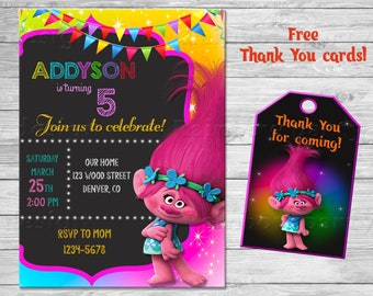 Trolls birthday invitation Trolls invitation Troll invites Poppy first birthday outfit Trolls party favor tags Party supplies Thank you tags
