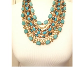 Turquoise Layered Faith Statement Necklace - Beaded Chain Layered Statement Necklace - Turquoise Necklace