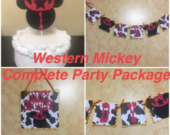 Western Cowboy Mickey Mouse - Complete Party Package - Yellow, Cow Print, & Red