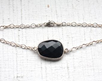 OOAK Onyx Bezel Set Stone Bracelet on Sterling Silver Chain