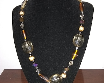 Brown Beaded Chunky Necklace with Plastic and Glass Beads