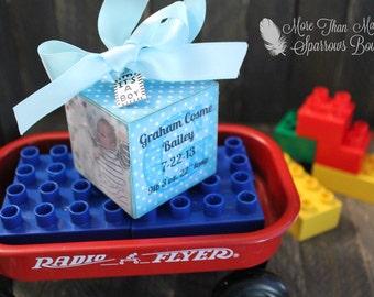 Baby Boy Keepsake | Custom Photo Cube Ornament | Baby Gift | It's a Boy | Blue or Yellow Polka Dots | Baby Shower Gift | Christmas Ornament