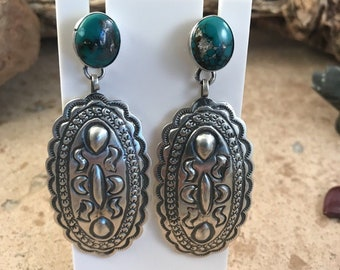 Hand Stamped Royston Turquoise & Sterling Silver Dangle Earrings Signed