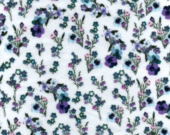 Blue Wildflowers Flannel Fabric (1 yard 26 inches)