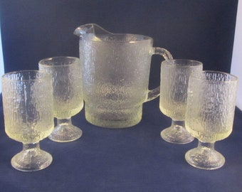 Indiana Crystal Ice Pitcher with 4 Footed Tumblers