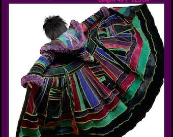 elf coat, fairy coat, rainbow coat, velvet coat, patchwork coat, gypsy coat, hippie coat, boho coat, size XL