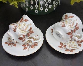 Vintage//Richmond bone China//coffee tea cups and saucers 2//golden Edge//beautiful rose motif//brocant//porcelain//England